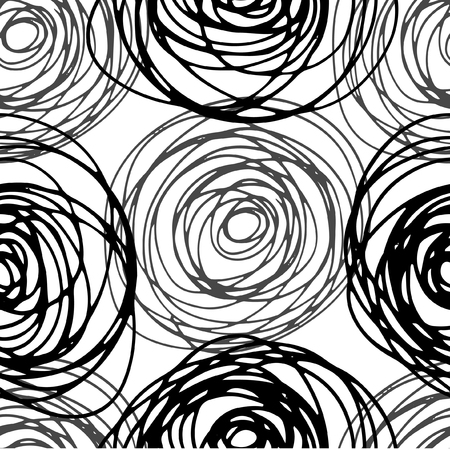 Vector freehand drawing seamless background. Pattern with abstract illustration