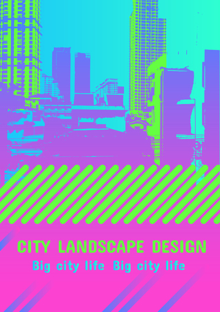 Vector neon colors template for design with big city street. Skycrapers background. Modern style Illustration