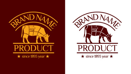 Vector logotype (brand identity) with badge. Drawing illustration with with cows. Can be used for package design. Illustration