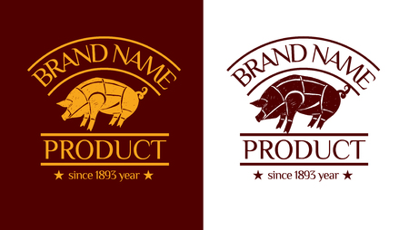 Vector logotype (brand identity) with badge. Drawing illustration with with pig. Can be used for package design.