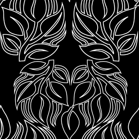 Seamless vector floral pattern. Black and white trees