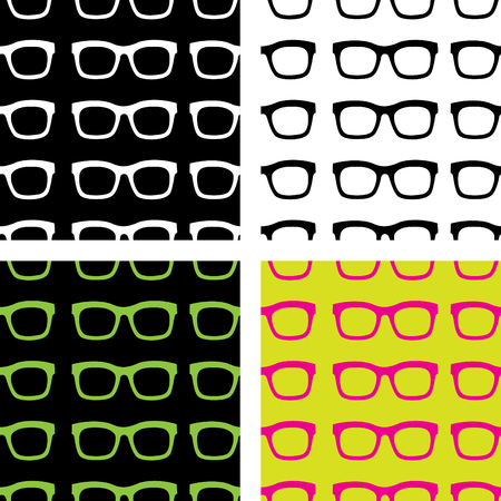 Vector seamless pattern from stylish glasses. Fashion illustration background.