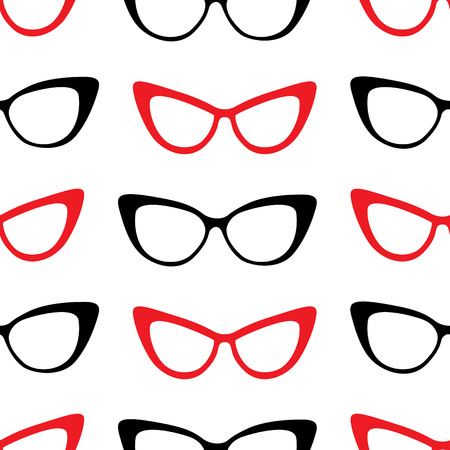 Vector seamless pattern from stylish glasses. Fashion illustration background. Banque d'images - 106375581