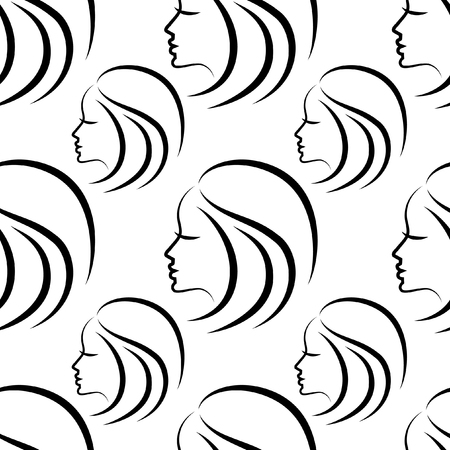 Vector seamless pattern from illustration of woman with beautiful hair Illustration
