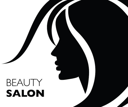 Illustration of woman with beautiful hair. Background. Can be used for beauty salon