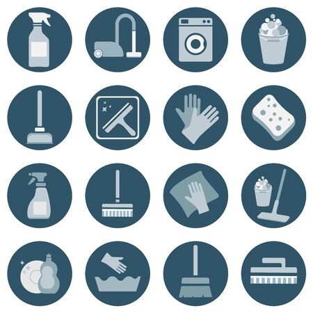 16 cleaning icon set. vector Çizim