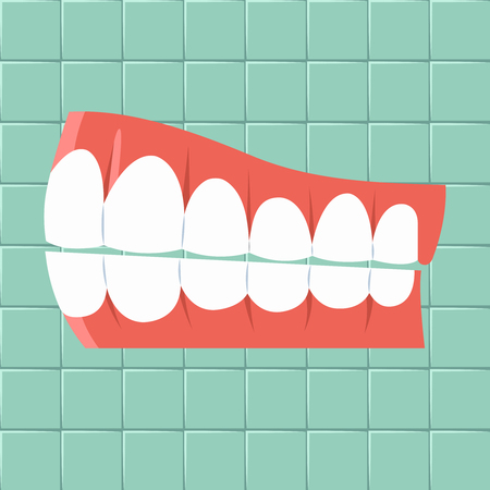 lingual: Dental. Oral hygiene background Flat design Vector illustration