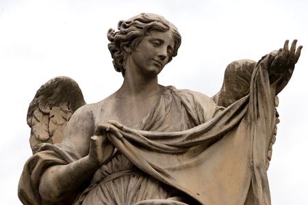 Angel statue at Ponte Sant Angelo (Aelian Bridge, Angels Bridge), Rome Stock Photo