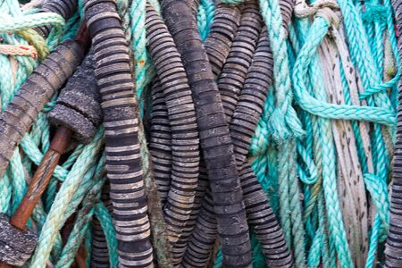 coiled rope: wound-up ropes and cables for fishery