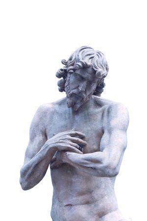 tiber: Statue at ponte milvio (milvian bridge), rome