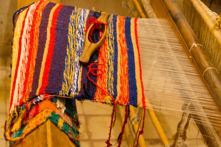 traditional carpet loom in morocco