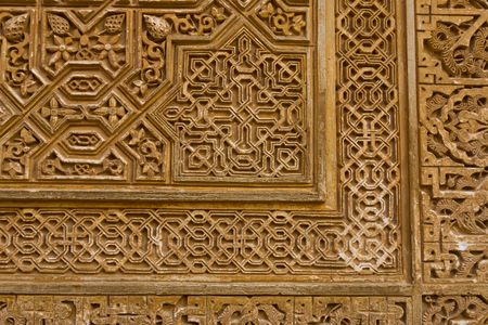 plaster ornament in alhambra, granada, spain
