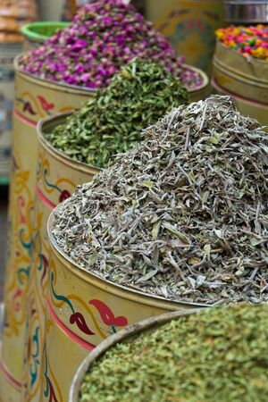 spices on market stall in morocco