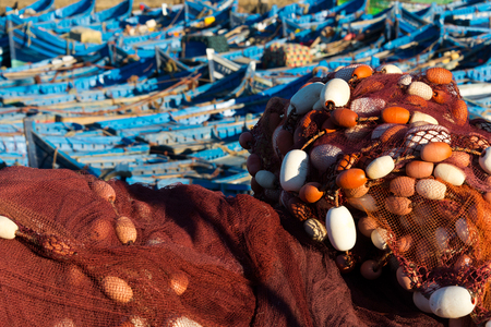 moored fisherboats at essaouira port, morocco