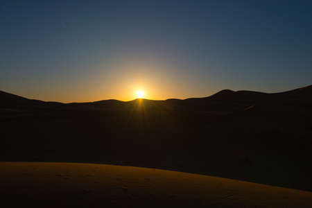 sunrise in sahara desert, erg chebbi, morocco Stock Photo