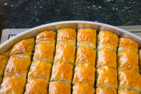 assorted baklava in turkish bakery in gaziantep, capital of baklava