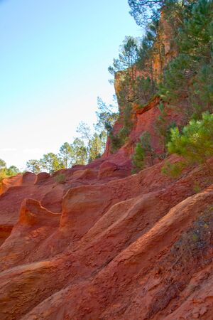 ochre rocks in roussillon, provence, france