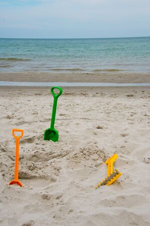 beach toys at baltic sea beach in Mecklenburg-Western Pomerania, Germany Zdjęcie Seryjne