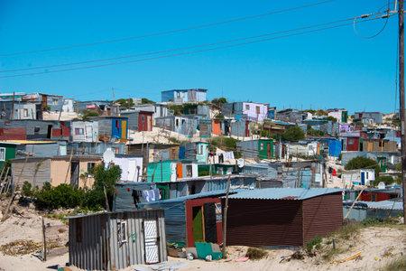 shacks in informal settlement in khayelitsha township, cape town, south africa