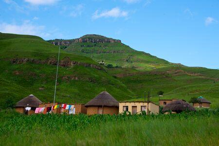 rural homestead in drakensberg mountains, kwazulu natal, south africa