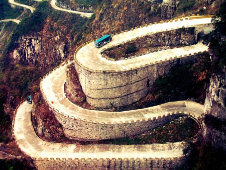 scenary:  Winding road in Zhangjiajie