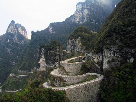 Winding road in Zhangjiajie  photo