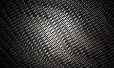 materia: metallic mesh  part of microphone and loudspeaker.  background,texture,dot   ( photo  intended : vintage style,blur,black border) Stock Photo