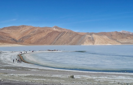 Pangong lake�is situated in the Himalayas, India is the highest salt water�lake�in the world approximately at the height of 4350 meters�in�Ladakh�City.