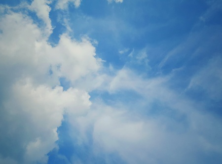 skylight: Many white clouds  in the blue sky background. wallpaper,vintage tone,air, meteorology,ozone,cotton,fluffy,climate,copy space Stock Photo