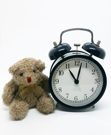 Bear With Alarm Clock Isolated On White Backgroundcopy Space Photo