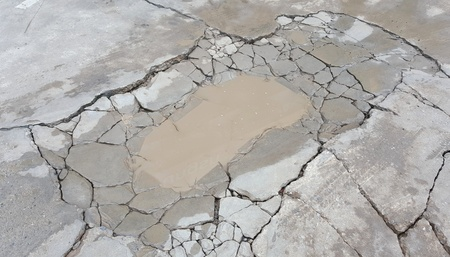 rupture: floor cracked cement is a basin filled with water. stone apart,background ,cambered,texture,split,pieces