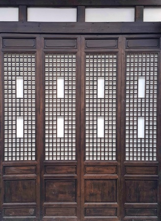 Chinese Style Folding Doorsaccordion Door Made A Wood Stock Photo