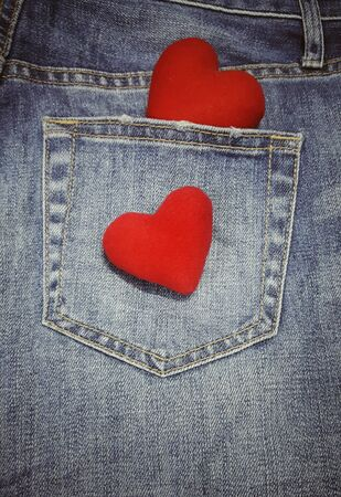 2 hearts isolated on blue jean background with copy space. 14 February.Valentine day. I love you