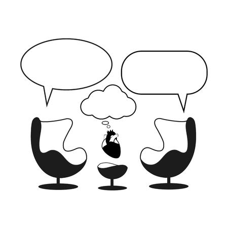 Sesión de psicoterapeuta. Gabinete con dos sillones vacíos de diseño de huevo, corazón y globos de diálogo.