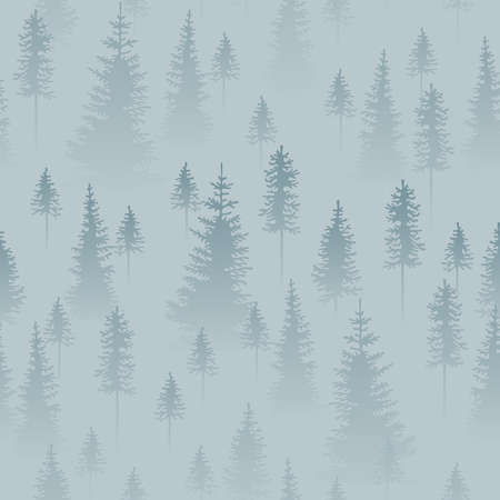 Foggy coniferous forest. Gray and blue firs in the haze. Seamless pattern.