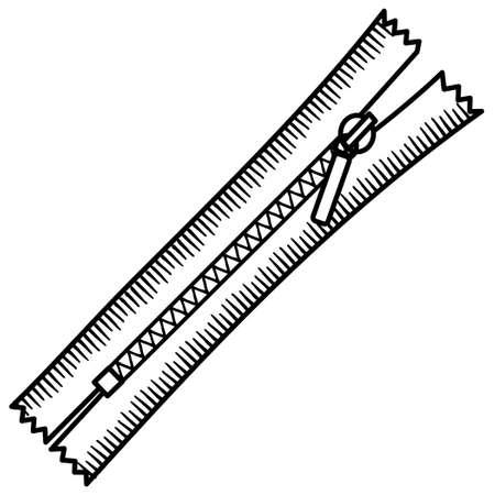 Sewing item monochrome color. Zipper.