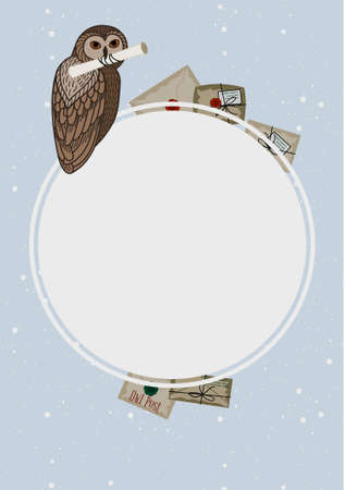 Card with an owl on a round frame and letters on a blue background. The owl postal service.