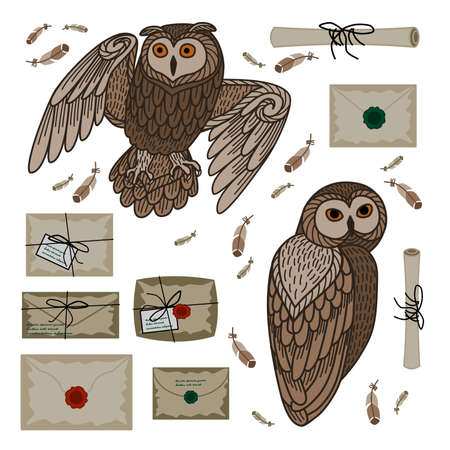 The owl postal service. Set of owls and letters. Isolated objects on a white background.