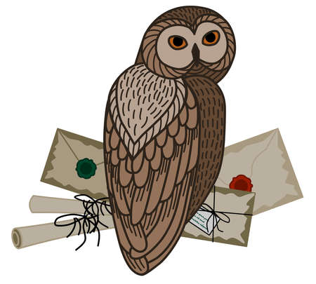 Card with an owl, scrolls and letters on a white background. The owl postal service.