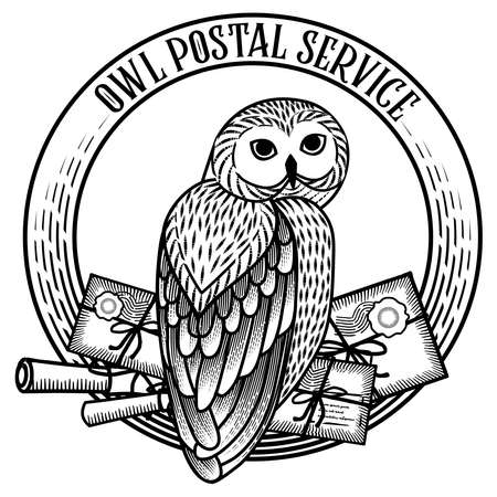 Monochrome card with an owl carrying a scroll on a round frame in the style of engraving. The owl postal service. Çizim