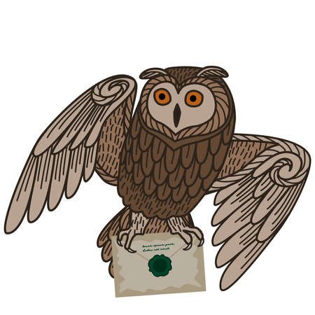 Card with an owl and letters on a white background. The owl postal service.