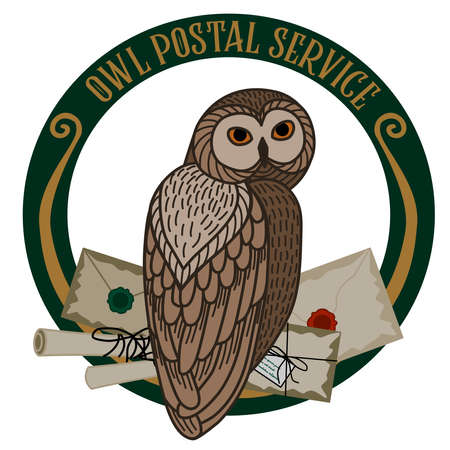 Card with an owl and letters on a round frame on a white background. The owl postal service.