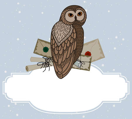 Card with an owl, scrolls and letters on a blue background. The owl postal service. Çizim