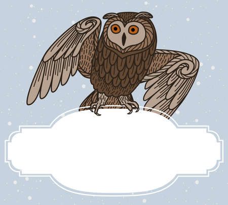 Card with an owl sitting on a frame on a blue background. Stock Illustratie