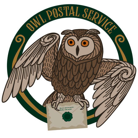 Card with an owl carrying a letter on a round frame on a white background. The owl postal service. Stock Illustratie