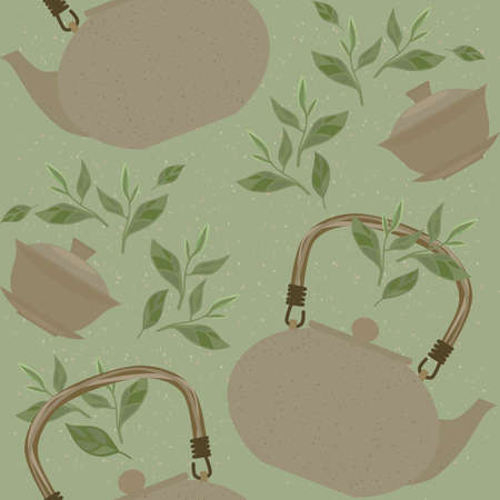 Seamless pattern with items for traditional Chinese tea drinking Pin Cha. The kettle, gaiwan and the green tea leaves.