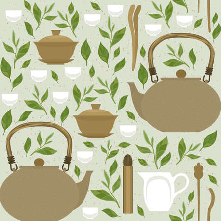 Seamless pattern with items for traditional Chinese tea drinking. The kettle, gaiwan and the green tea leaves. Ilustrace