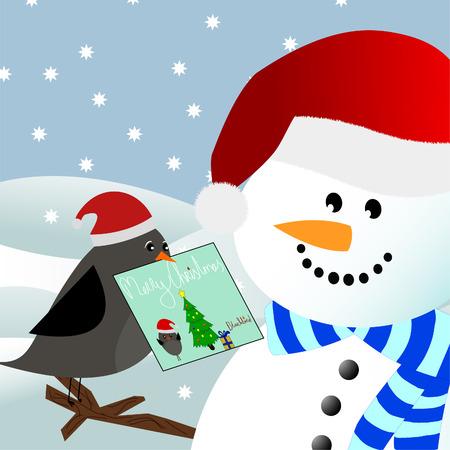 a blackbird giving a christmas card to a snowman in a winter environment Vector