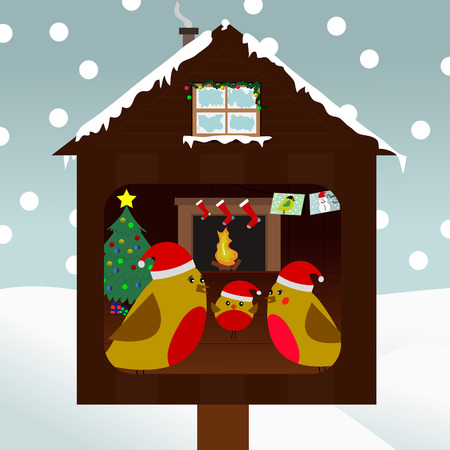 A look into the home of a family of red robin birds who are celebration christmas Vector
