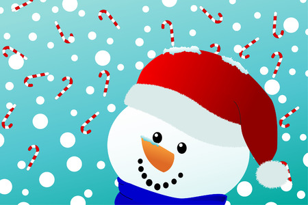 a happy snowman with santa hat looks upon falling snow and candy canes Stock Vector - 8346397